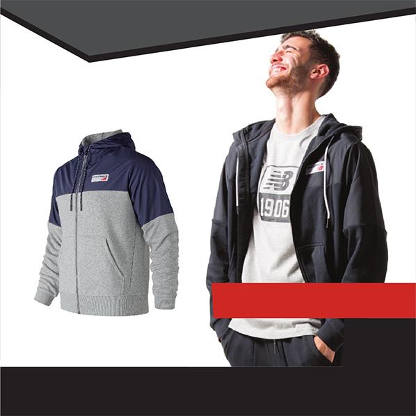 Giacca Sportiva New Balance ATHLETICS Full Zip Cappuccio Sportswear Hoodie
