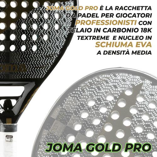 Racchetta carbonio fibra di vetro Padel Joma World Tour Gold Pro Supernova Slam Pro