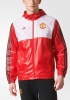 Manchester United Adidas giacca vento pioggia k-way Rosso tasche a zip 2017 18