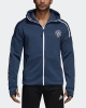 Trainingsjacke MANCHESTER UNITED Adidas Anthem Zone Kapuzenpullover 3,0 Original Man 2018 19 Blau