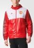 Manchester United Adidas giacca vento pioggia k-way Rosso tasche a zip 2017 18