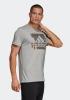 Adidas T-shirt tempo libero Maglia Maglietta Grigio Sportswear Cotone