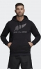 All Blacks New Zealand Adidas Felpa Cappuccio Hoodie Nero Supporters cotone
