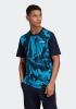 Adidas Essentials Allover Printed Maglia Maglietta T-shirt Blu cotone