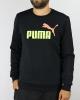 Sporty crewneck sweatshirt Puma Essential 2 Col Crew Sweat FL Big Logo Cotton man black