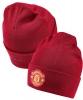 Manchester United Adidas Cappello di lana invernale zuccotto tg unisex Rosso